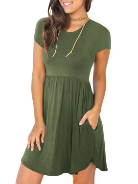 b8ad39352980 Product Image Short Sleeved Women Casual Simple Casual Day Dress with Pocket