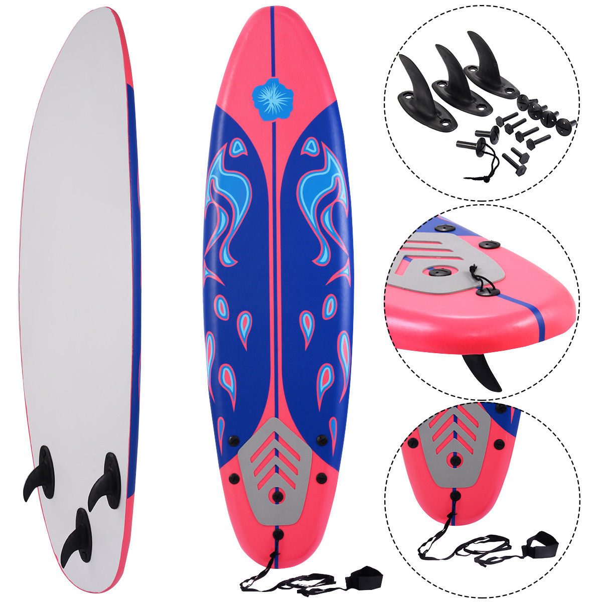 Costway 6' Surfboard Surf Foamie Boards Surfing Beach Ocean Body Boarding Red