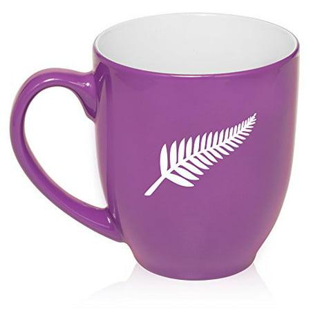 529780412df 16 oz Large Bistro Mug Ceramic Coffee Tea Glass Cup New Zealand Silver Fern  (Purple) - Walmart.com