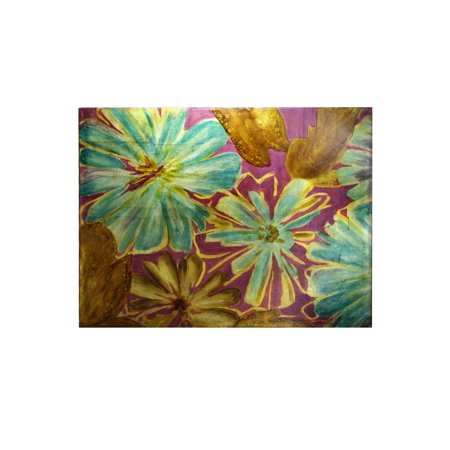 Floral - Hand Painted Foil Application - Stretched Canvas Wall