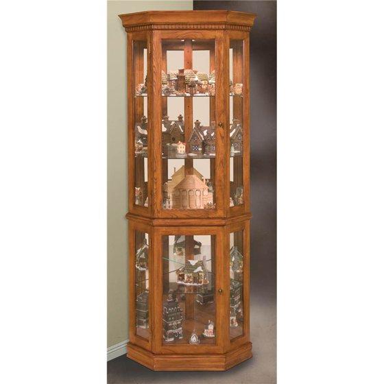 Philip Reinisch Lighthouse Clic Oak Corner Curio Cabinet