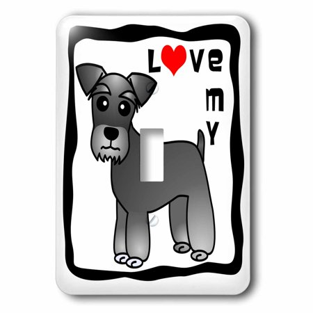 3dRose I Love My Miniature Schnauzer Dog - Banded Coat (Salt and Pepper) - Red Heart - Single Toggle Switch (lsp_40884_1)
