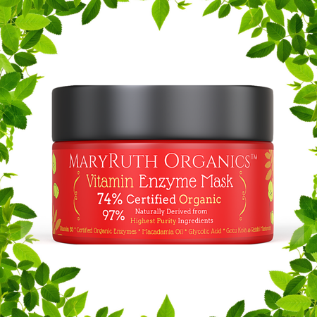 ORGANIC VITAMIN ENZYME MASK by MARYRUTH ORGANICS - Unscented Highest Purity 74% Organic Ingredients, Vitamins & Glycolic Acid gently remove dead skin cells to allow new skin tissue to emerge. 4oz
