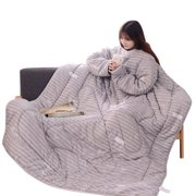 Tuscom 59x79 Inch Creative Thickened Lazy Quilt Washable Detachable Zipper Winter Blanket With Sleeves
