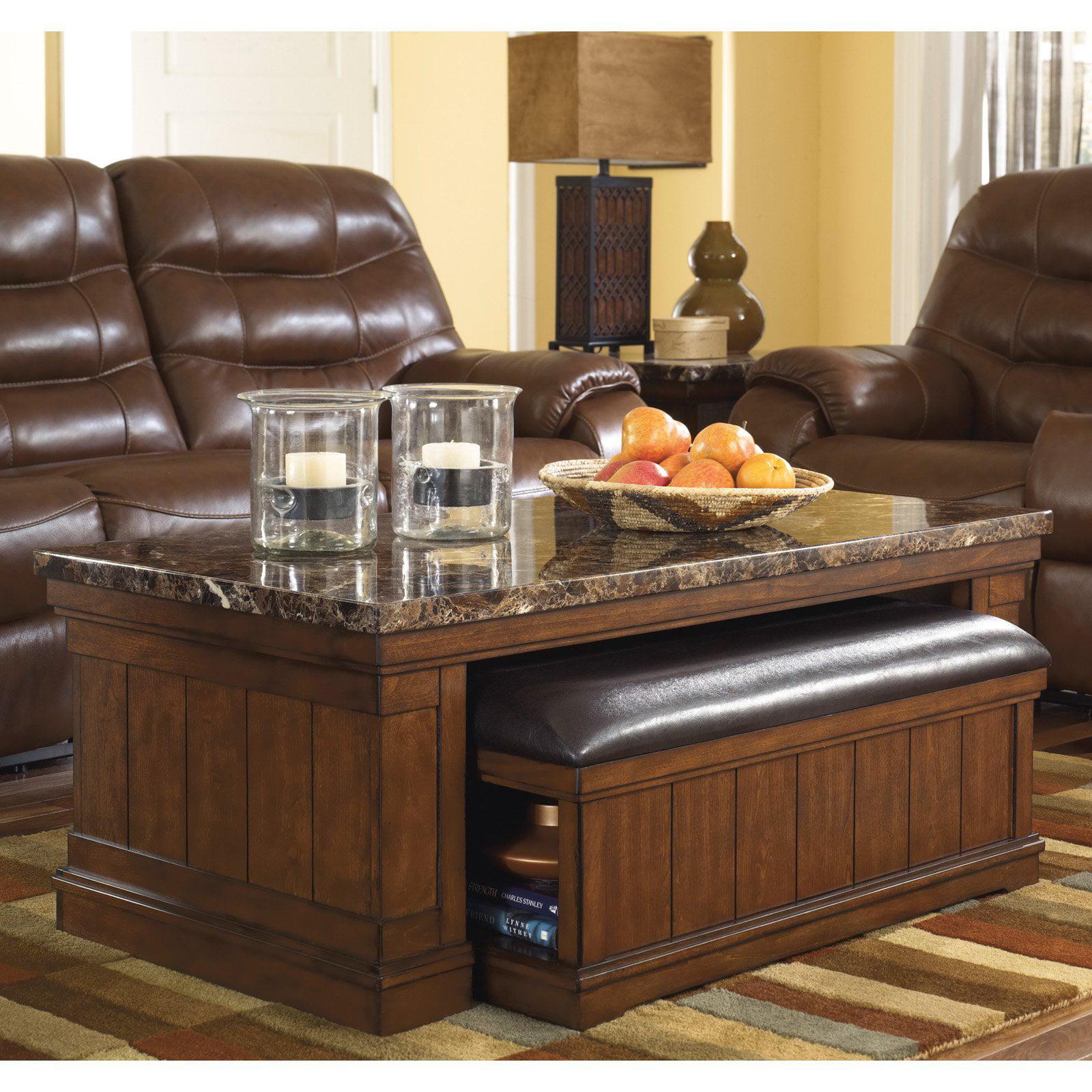 signature designashley merihill brown cocktail table with ottoman -  walmart