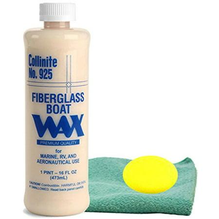 Collinite 925 Fiberglass Boat Wax (16 oz.) Bundled with Microfiber Cloth & Foam Pad (3 Items) ()