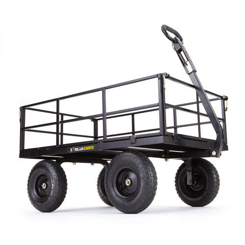 """Gorilla Carts GOR1200-COM Heavy-Duty Steel Utility Cart with Removable Sides and 13"""" Tires, 1200 lb Capacity, Black"""