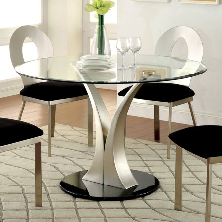 Satin Silver Effect - Furniture of America Sculpture III Contemporary Silver Dining Table by FOA - Satin