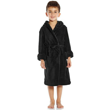 Leveret Kids Fleece Sleep Hooded Robe Black Size 12 Years - Kids Black Robe