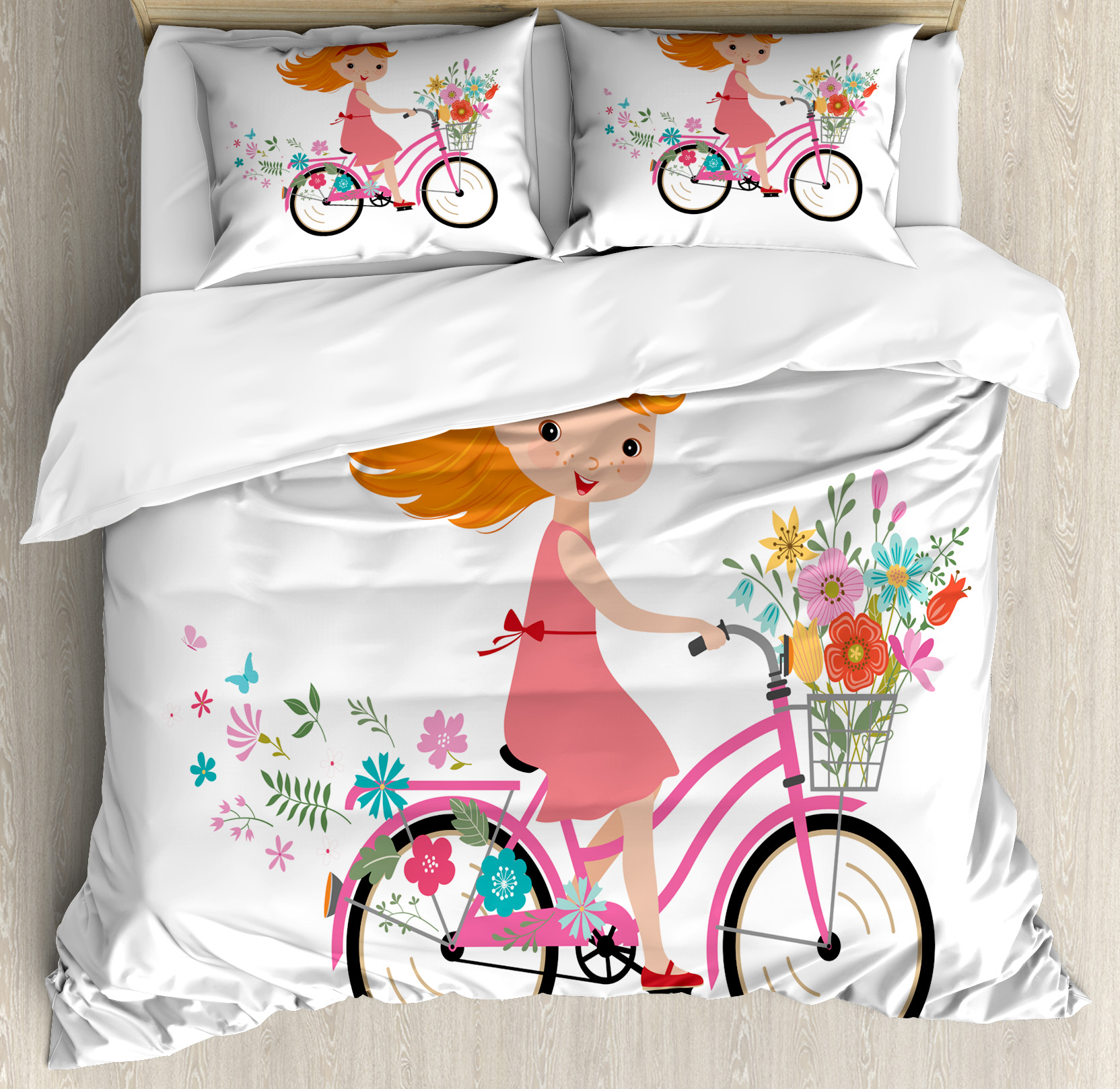 Kids Queen Size Duvet Cover Set, Happy Little Girl with Bunch of Flowers Riding a Bike Cheerful Childhood Activity, Decorative 3 Piece Bedding Set with 2 Pillow Shams, Multicolor, by Ambesonne