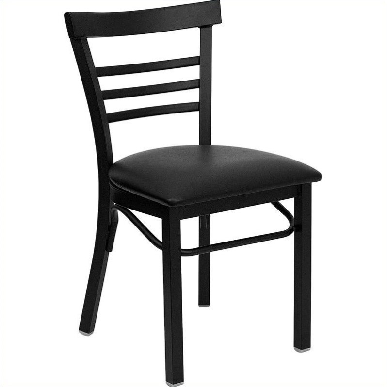 Flash Furniture HERCULES Series Black Ladder Back Metal Restaurant Chair - Vinyl Seat Multiple Colors