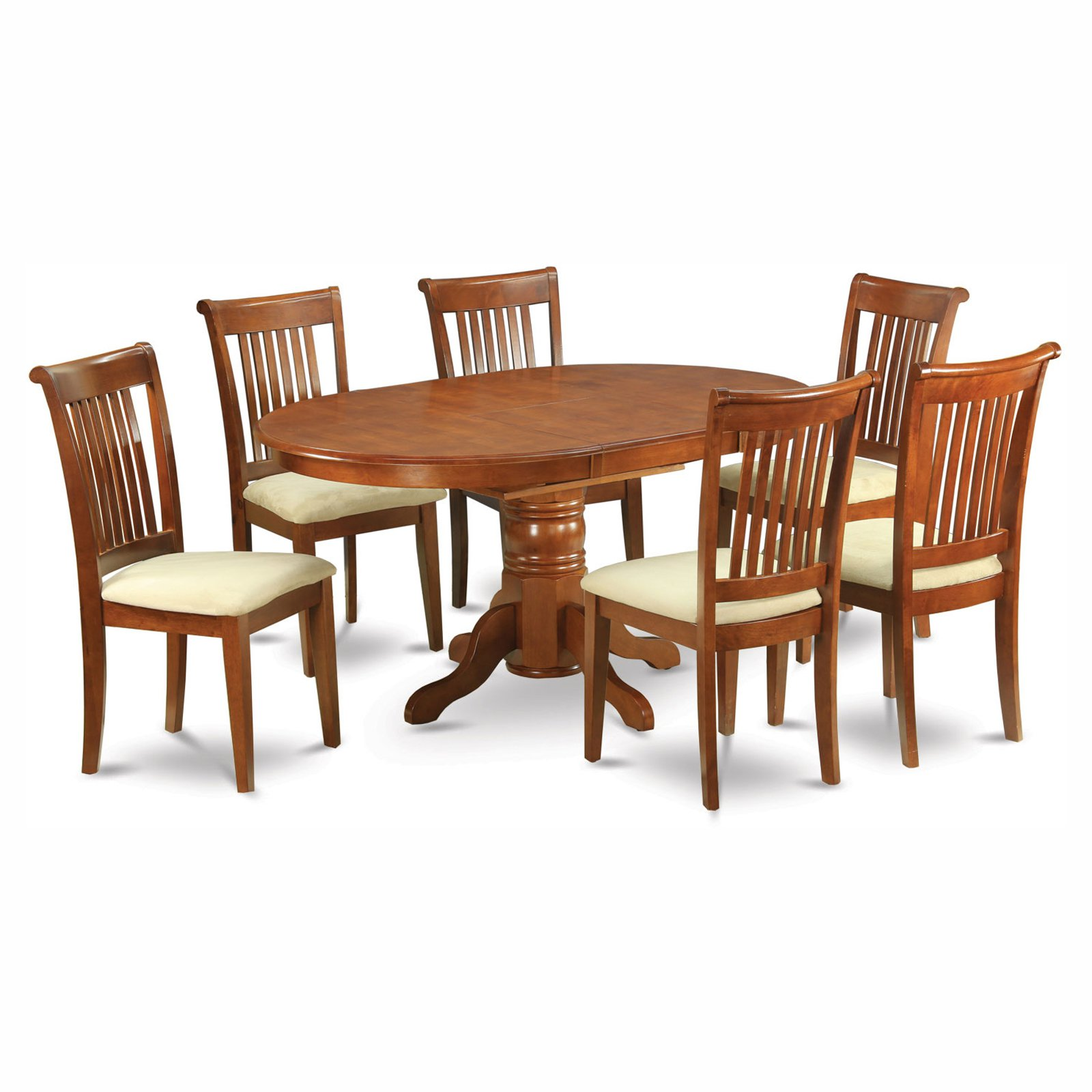East West Furniture Avon 5 Piece Pedestal Oval Dining Table Set with Portland Microfiber Seat Chairs
