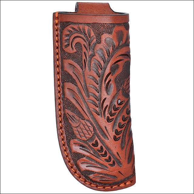 "1 3/4"" x 4"" 3D TAN LARGE LEATHER FLORAL HAND TOOLED KNIFE HOLDER BELT LOOP"