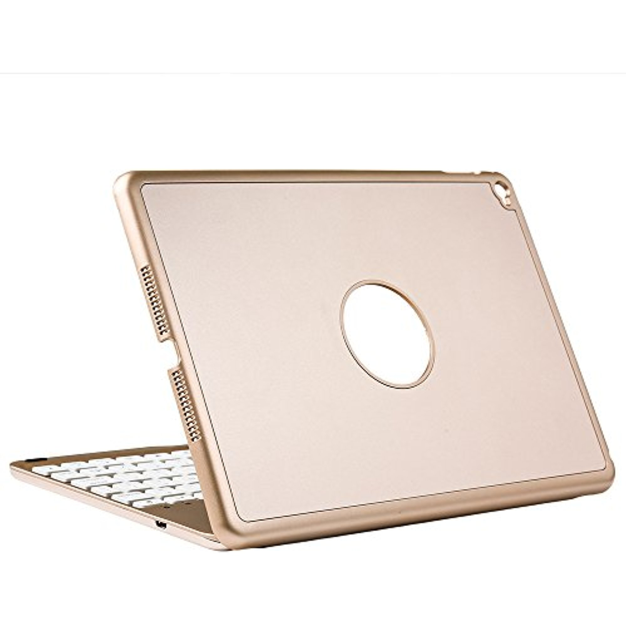 iEGrow 7 Colors Backlit F8S+ Slim Bluetooth Keyboard Protective case for iPad Air 2 A1566/A1567 Release in 2014, Gold