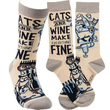 Primitives Socks - Cats and Wine - Cat In The Hat Socks