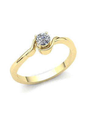 0.2carat Round Cut Diamond Ladies Bridal Solitaire Anniversary Engagement Ring Solid 14K Rose, White or Yellow Gold GH I1