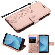 Phone Case for Samsung Galaxy J7 (2018), J737, J7 V 2nd Gen, J7 Refine - Pattern Flip Wallet Case Cover Stand Pouch Book Magnetic Buckle with Hand Strap 3D Butterfly Flower - Rose Gold