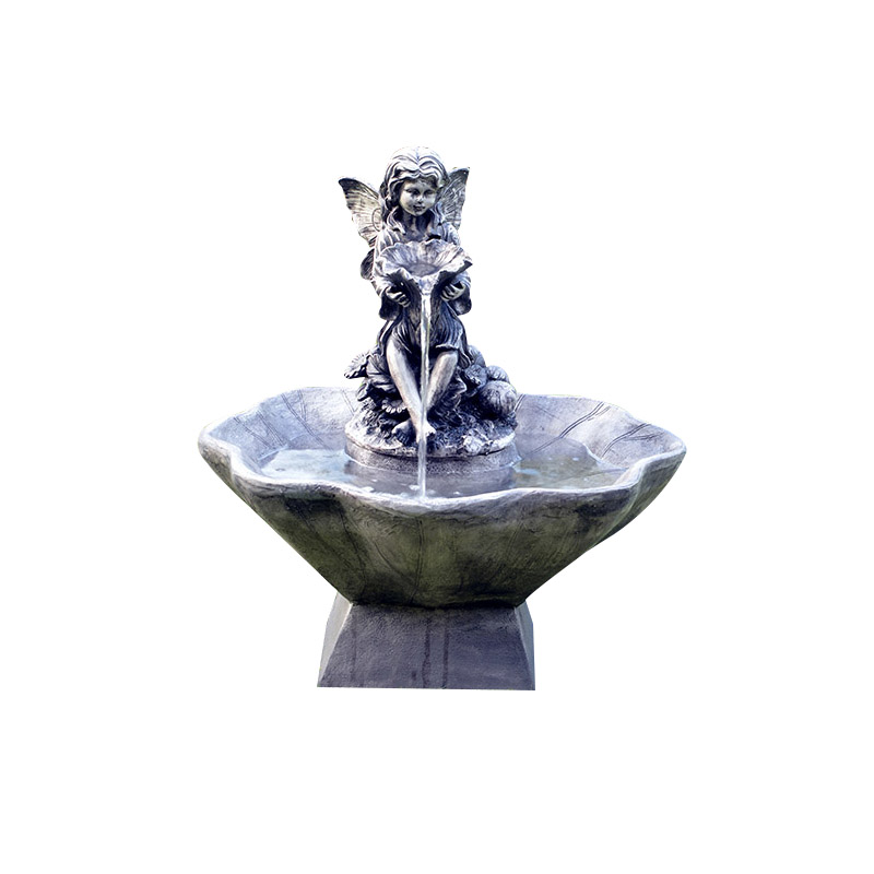 ASC Solar Flower Fairy & Bowl Water Fountain with Battery Timer and LED Light by ASC