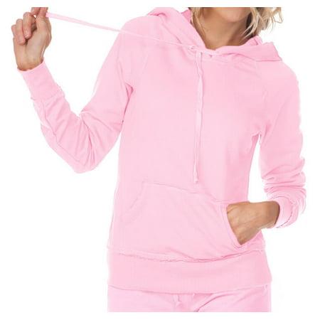 Kavio! Junior Raw Edge Raglan Long Sleeve Pullover Hoodie Baby Pink M