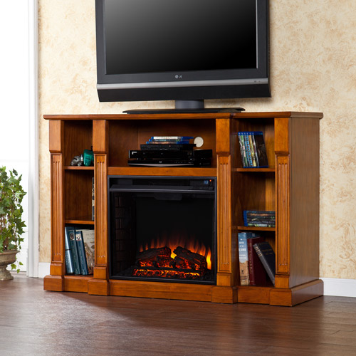 "Catalina Media Console and Electric Fireplace, for TVs up to 50"", Glazed Pine"