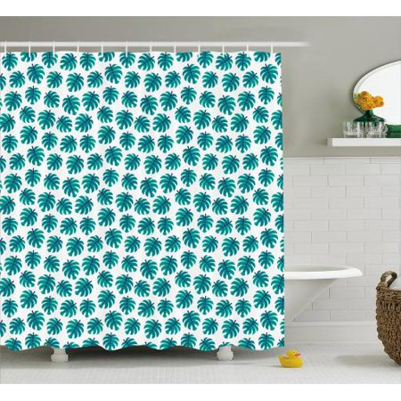 Navy And Teal Shower Curtain Tropical Monstera Leaf Pattern Exotic Hawaiian Foliage In Blue Tones Fabric Bathroom Set With Hooks 69W X 84L Inches Extra