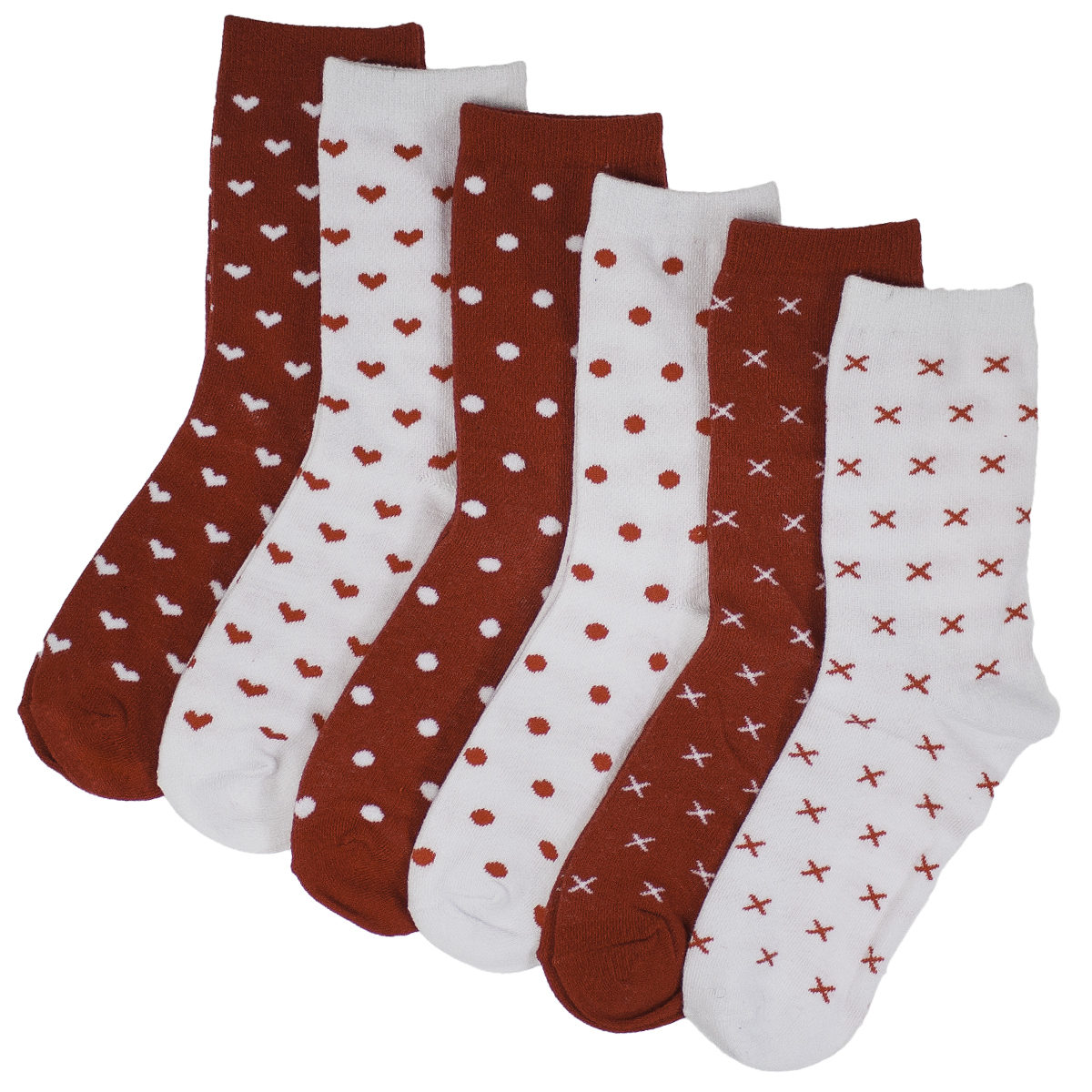 6pk Ladies Valentine's Day Socks Red White Heart XO Kiss Hug Love Cotton Stretch