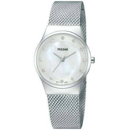PH8053 Women's Easy Style MOP Dial Steel Mesh Bracelet Swarovski Crystal Watch
