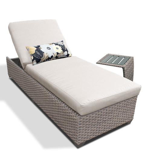 TK Classics Reclining Chaise Lounge with Cushion and Table