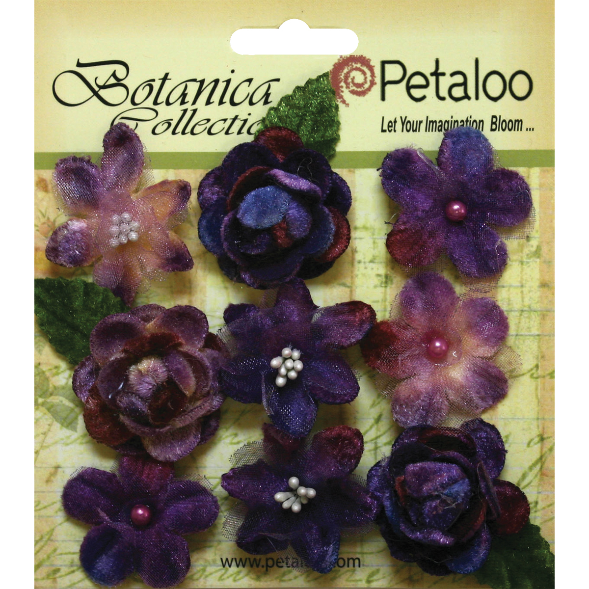 "Botanica Vintage Velvet Mini Flowers 1"" - 1.5"" 9/Pkg-Purple"