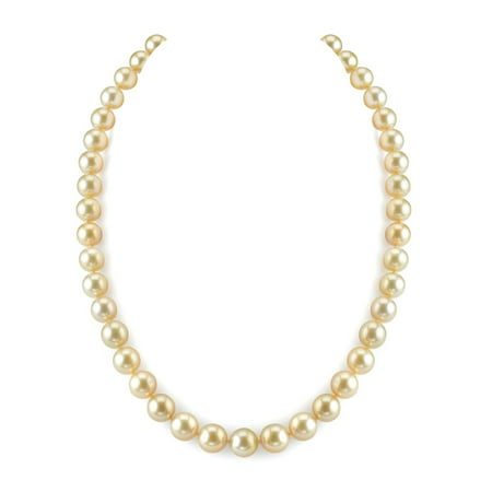 "14K Gold 8-10mm Golden South Sea Cultured Pearl Necklace - AAA Quality, 17"" Princess Length"