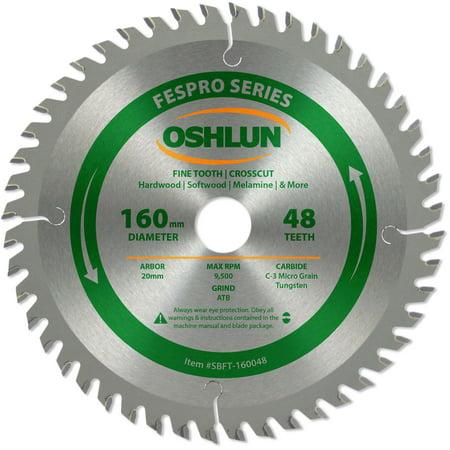 Oshlun SBFT-160048 160mm 48 Tooth FesPro Crosscut ATB Saw Blade with 20mm Arbor for Festool TS 55 EQ, DeWalt DWS520, and Makita -