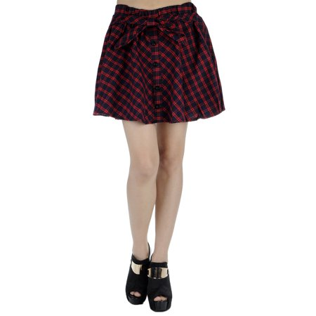 S/M Fit Red Checkered High Waisted Front Button Bow Mini Skirt