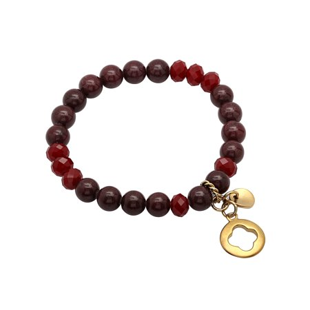 Women's Stainless Steel Red Glass Bead Bracelet w/Cut-Out Charm ()