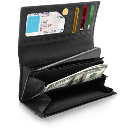 Genuine Leather Accordion Clutch Wallets For Women - Organizer With Coin Purse And ID Window RFID (Id Coin Purse)