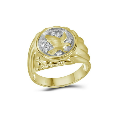 Mens 10k Gold Personalized Ring (Mens Diamond Eagle Cluster Ring 1/10 Carat (ctw) in 10K Yellow Gold )