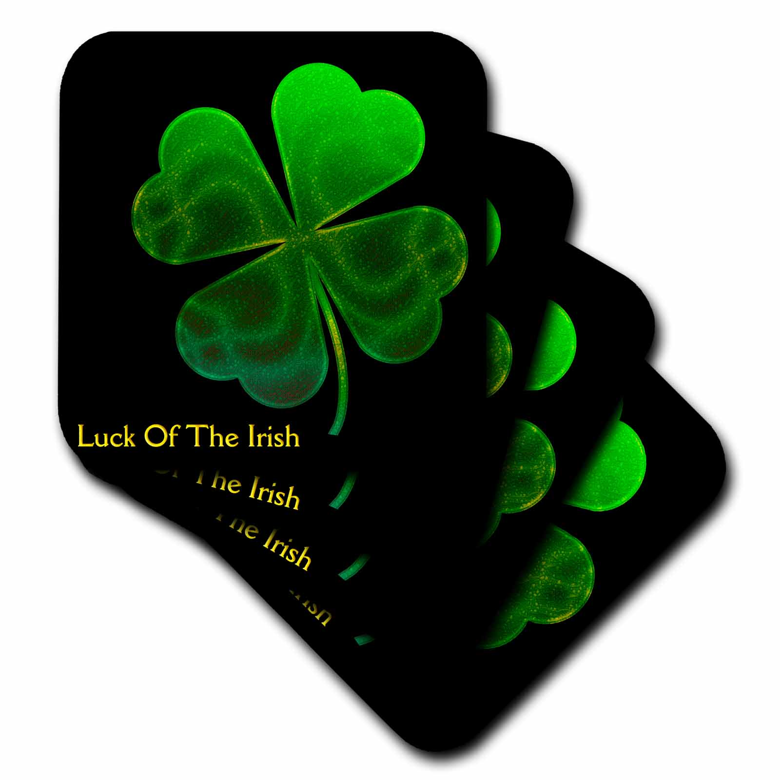 3dRose Text Luck of The Irish. Chic clovers (green) on black background - Ceramic Tile Coasters, set of 4