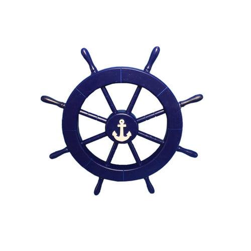 Handcrafted Nautical Decor Ship Wheel with Anchor Wall Decor