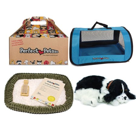 Cocker Spaniel Treat - Perfect Petzzz Huggable Breathing Puppy Dog Pet Bed Cocker Spaniel with Blue Tote For Plush Breathing Pets