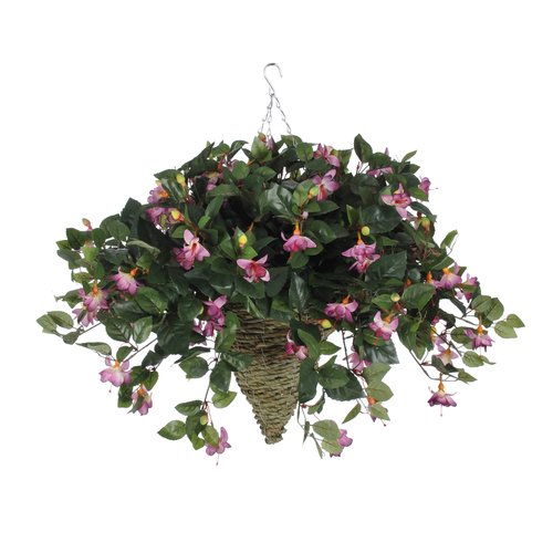 Charlton Home Faux Fuchsia Floral Arrangement in Beehive Planter