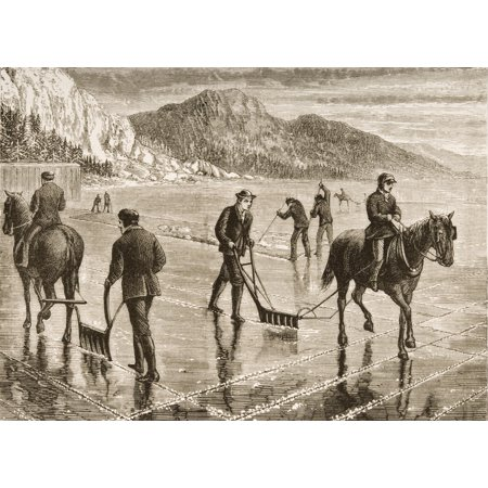 (Harvesting Ice On The Hudson River In The 1870s From American Pictures Drawn With Pen And Pencil By Rev Samuel Manning Circa 1880 PosterPrint)