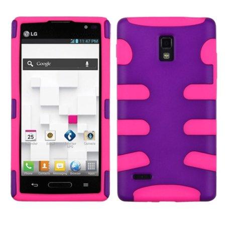 Insten Rubberized Grape Pink Fishbone Phone Protector Case For LG P769 Optimus L9 - image 3 de 3