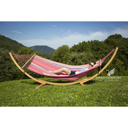 Swan Comfort Extra Heavy Duty Cotton Hammock  Indoor Swing Bed  Relaxing Swing Sack Solid Wood Spreader Outdoor Blue And Green