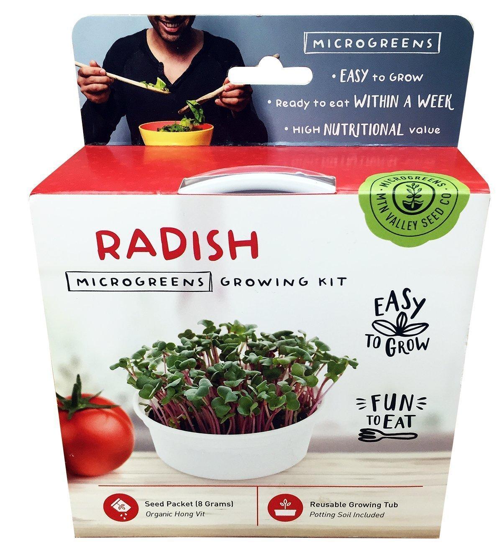 Mini Microgreens Growing Kit - Radish - Grow Your Own Organic Gourmet Micro Greens Indoors: Salad, Sandwich & Garnish - Easy & Fun - Great Gift or Stocking Stuffer