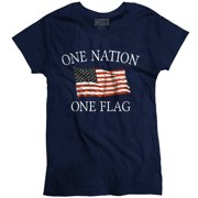 One Nation One Flag T Shirt Americana Pride Womens Tee by Brisco Brands