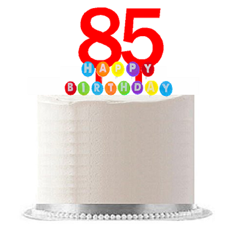 Item#085WCD - Happy 85th Birthday Party Red Cake Topper & Rainbow Candle Stand Elegant Cake Decoration Topper Kit - 85th Birthday Ideas