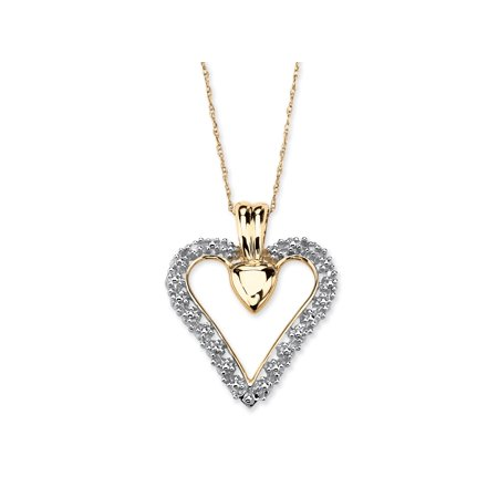 - Diamond Accent Heart Pendant Necklace in Solid 10k Gold 18