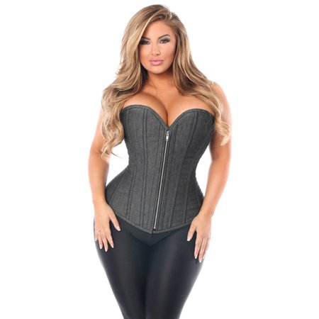 b88301f6d6 Daisy Corsets - Plus Size Denim Black Steel Boned Corset
