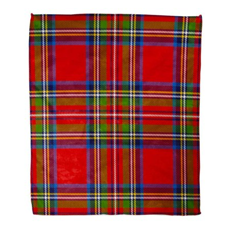 ASHLEIGH Flannel Throw Blanket Red Pattern Scottish Plaid Pattern Printing in Classic Colors Royal Stewart Tartan Green Check 50x60 Inch Lightweight Cozy Plush Fluffy Warm Fuzzy