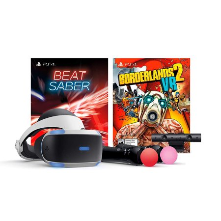 Playstation Borderlands 2 VR Beat Saber Console Bundle: Borderlands 2 VR, Beat Saber, Playstation VR Headset, Playstation Camera, Demo disc 2.0, Two Playstation Move Motion Controllers