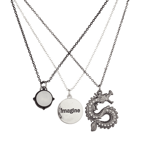 Lux Accessories Silvertone Mixed Metal Imagine Dragon Charm Necklace ()